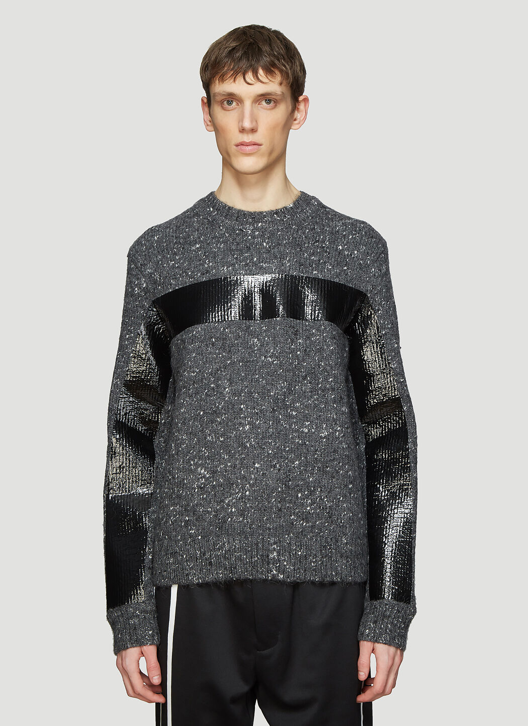 Helmut Lang Knits Gloss Tape Knit Sweater in Grey
