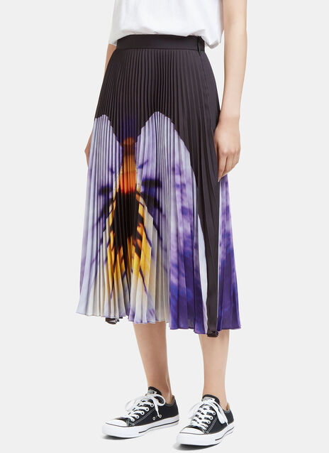 Pansy Print Pleated Skirt