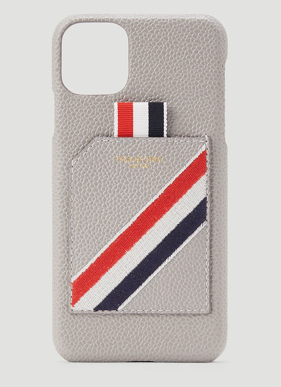 Thom Browne IPHONE 11PRO CASE W/ RWB DIAGONAL EMBROIDERY IN PEBBLE GRAIN LEATHER 1