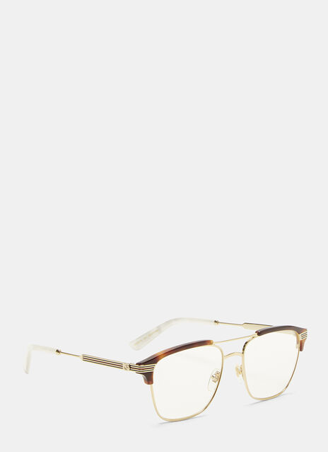 Gucci Havana Tortoiseshell Rimmed Optical Glasses