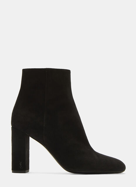 Saint Laurent LouLou 95 Zipped Suede Ankle Boots