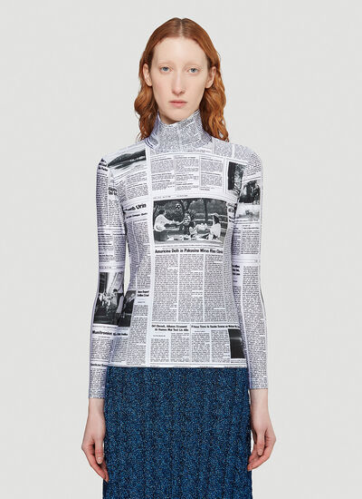 Balenciaga Newspaper Turtleneck Top