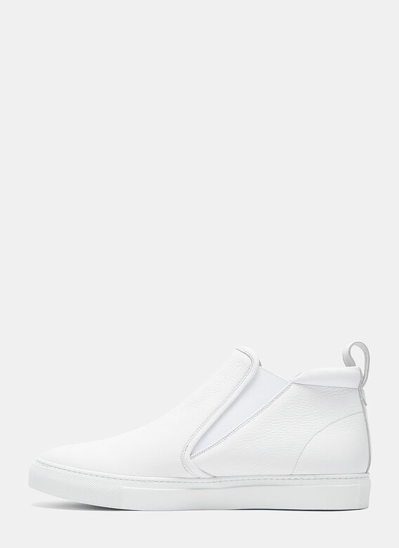 Aiezen High-Top Slip-On Grained Leather Sneakers