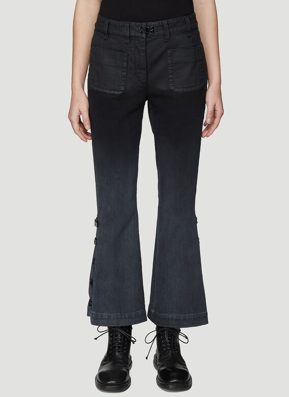 Olivier Theyskens FLARED BOTTOM JEANS WITH HOOK AND EYE DETAIL 1