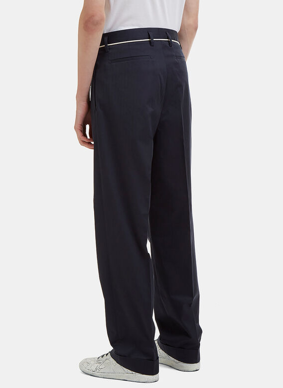 Maison Margiela Cuffed Twill Striped Tailored Pants