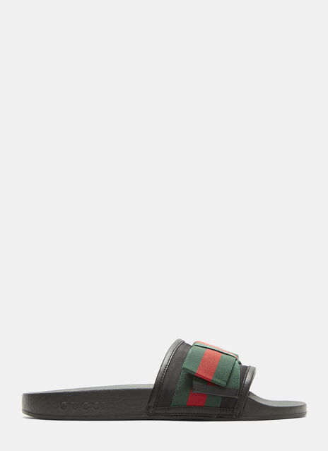Gucci Satin Web Bow Slip-On Sandals