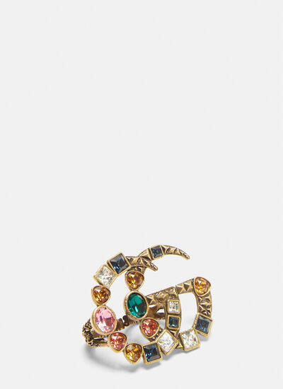 Gucci Crystal Double G Multi-Finger Ring