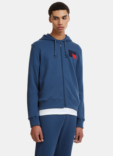 Eagle R Chenille Patch Hooded Zip-Up Sweater
