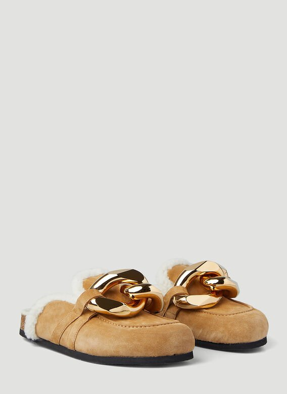 JW Anderson Chain Shearling Loafers 2