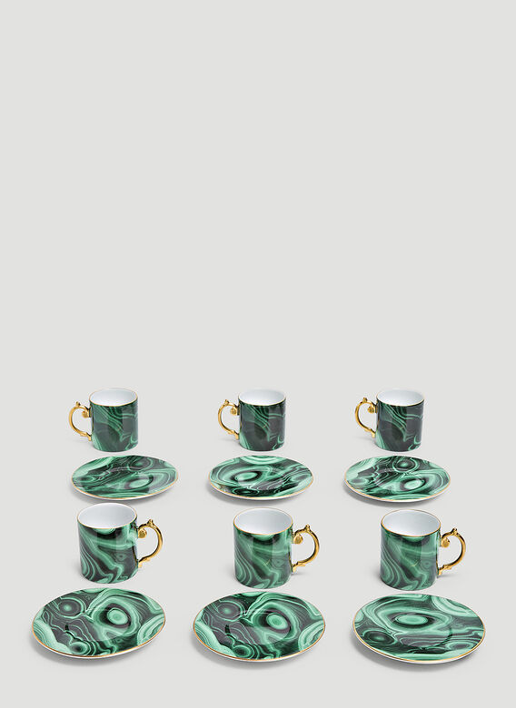 L'Objet Set of Six Malachite Espresso Cup and Saucer 1