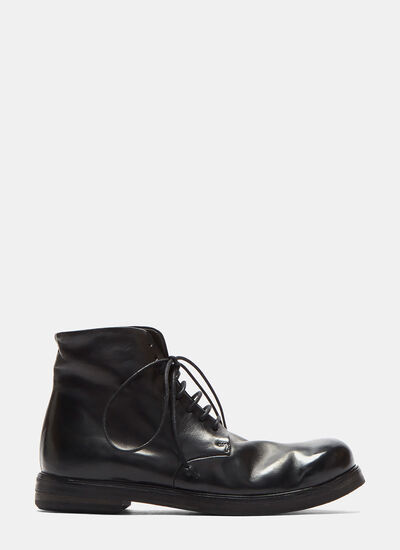 Leather Lace-up Ankle Boots