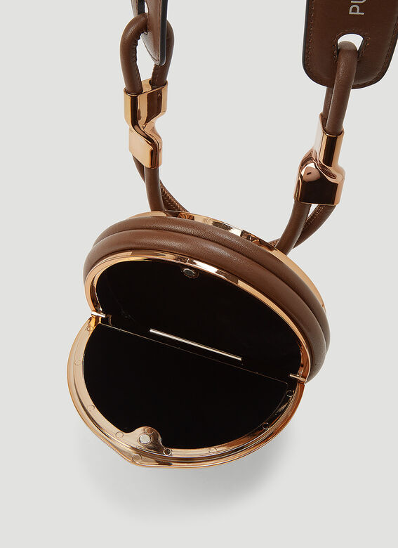 PUBLISHED BY Circle Bag in Dark Gold Rubber & Leather Strap 4