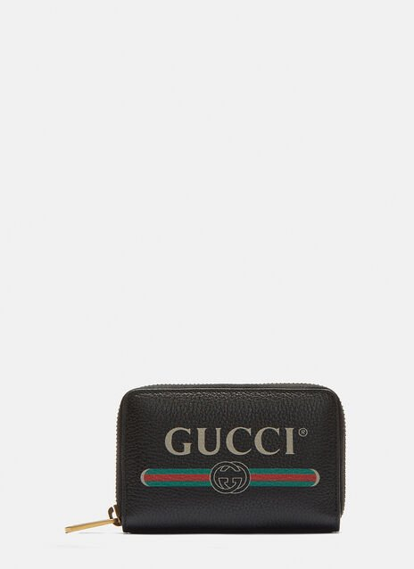 Gucci Gucci Print Zip-Around Leather Card Case