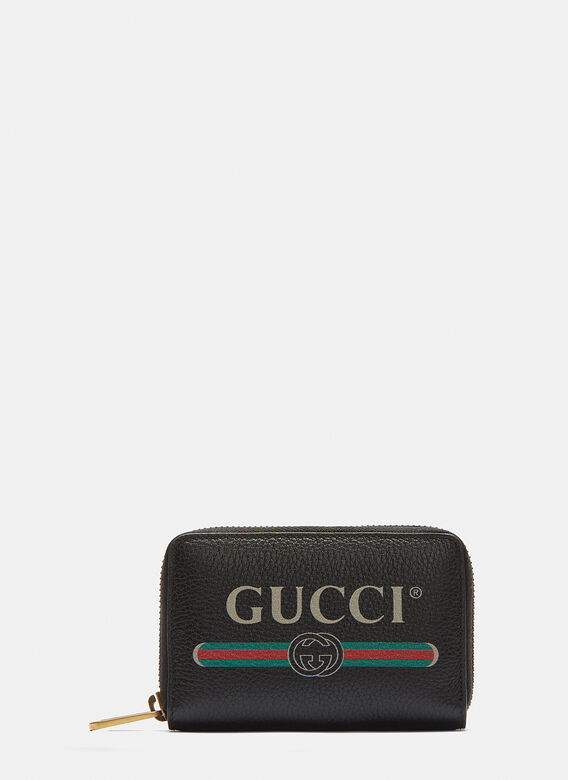 Gucci Gucci Print Zip-Around Leather Card Case in Brown  5a3d5c2cdd3