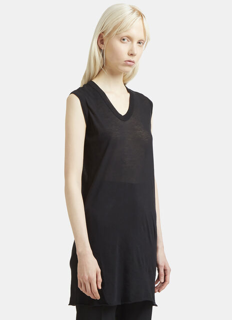 Rick Owens Long Sheer V-Neck T-Shirt