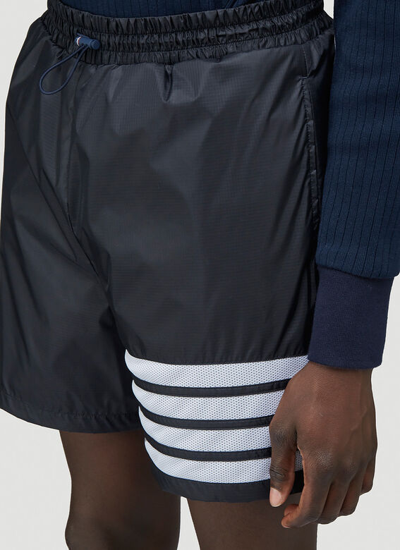 Thom Browne MID THIGH SHORTS W/ 4 BAR IN SHEER RIPSTOP 5