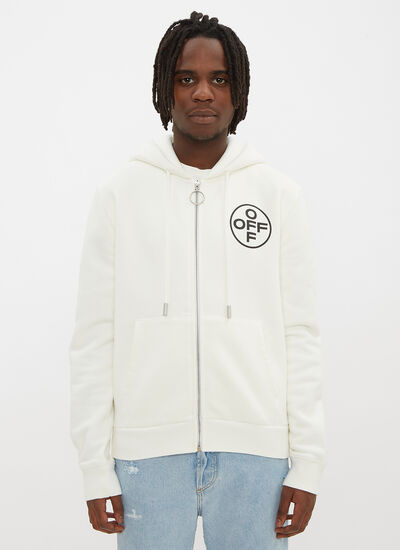 Off-White Hooded Fight Print Zip Sweater