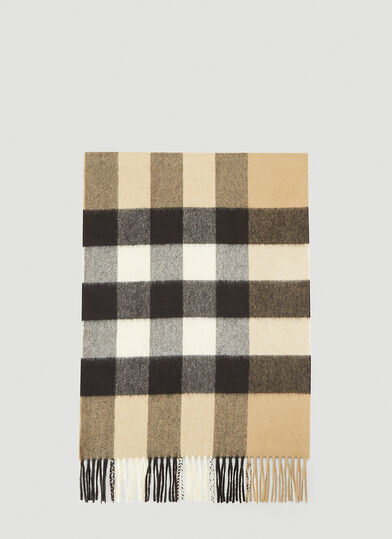 버버리 Burberry Mega Check Cashmere Scarf in Beige