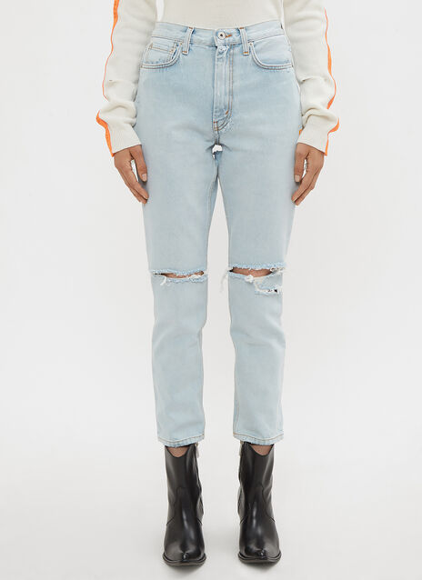 Heron Preston Bleached 5 Pocket Jeans