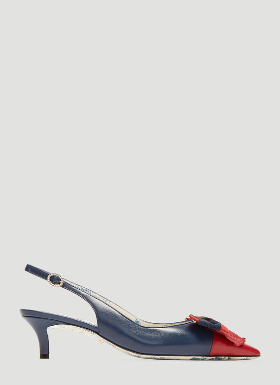 b5df9579ecb9 Gucci Slingback Web Bow Leather Kitten Heel in Red