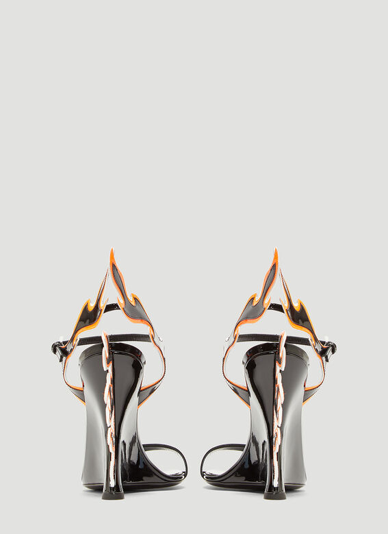 Prada Flame Patent Leather Sandals