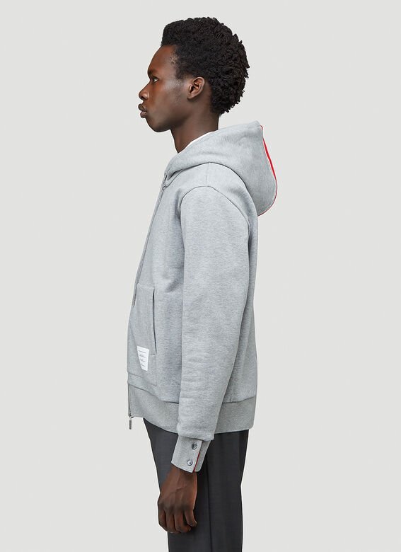 Thom Browne HOODIE ZIP-UP PULLOVER IN CLASSIC LOOPBACK WITH CENTER-BACK RWB STRIPE 3