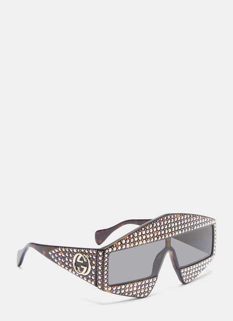 Gucci Crystal Rectangular Frame Tortoiseshell Sunglasses