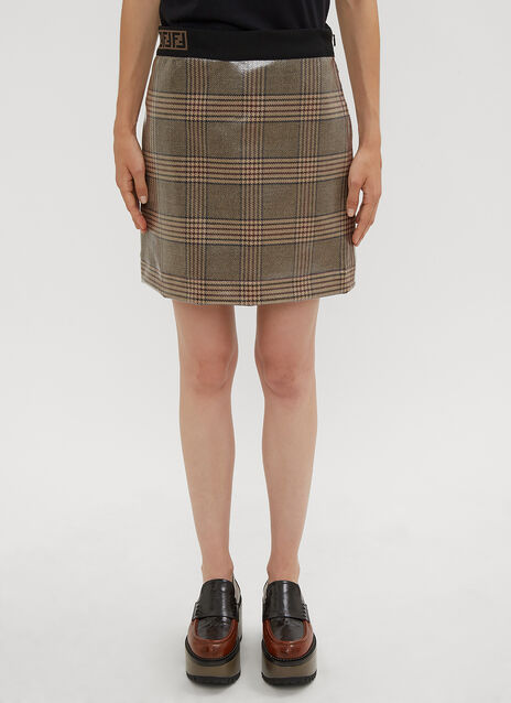 Fendi Prince of Wales Check Laminated Wool Mini Skirt