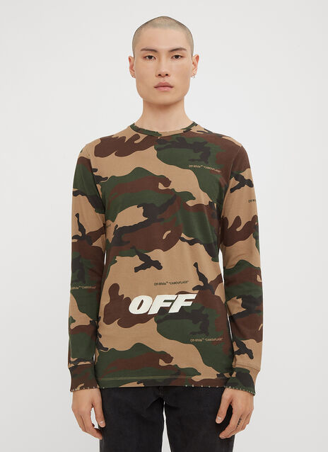 Off-White Long Sleeve Camo Print T-Shirt