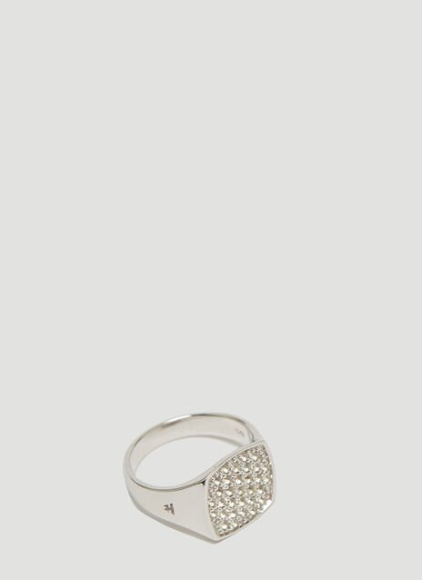 Tom Wood Mini Cushion White Topaz Signet Ring