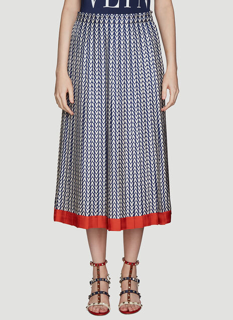 Valentino Geometric Pleated Skirt