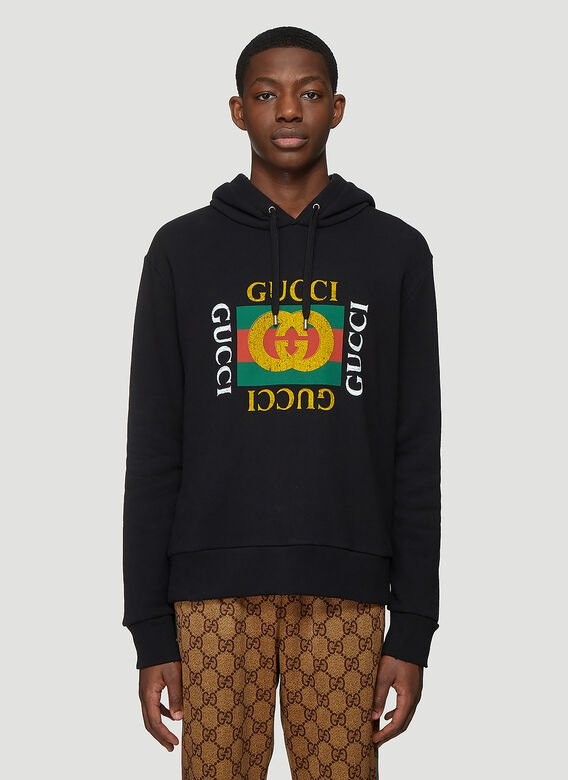 Gucci Gucci Fake Logo Hooded Sweatshirt 1