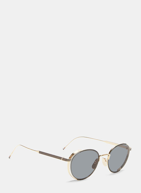 Thom Browne Ridged Gold-Rimmed Frame Sunglasses