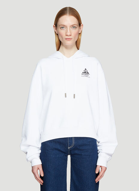 Off-White Hooded Cropped Floral Logo Back Sweatshirt