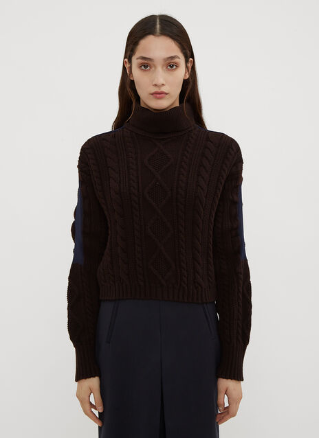 Atlein Cropped Cable Knit Sweater