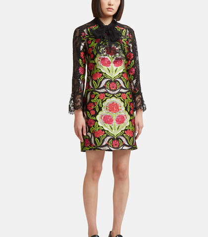 Floral Brocade Lace Dress