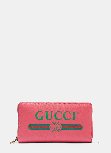Gucci Gucci Print Zip-Around Leather Wallet