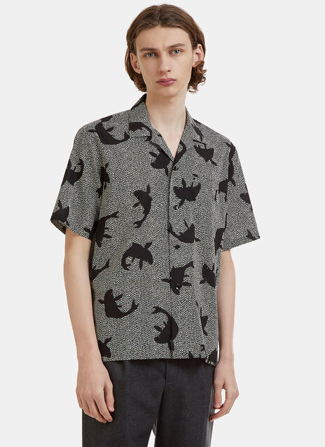 Saint Laurent Sharp-Neck Shark Printed Cotton Shirt