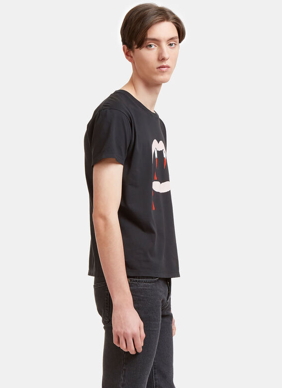 352390f7bb7 Saint Laurent Blood Luster Mouth Print Crew Neck T-Shirt
