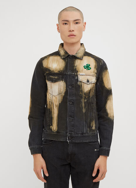 Off-White Distressed Bleached Clover Embroidered Denim Jacket