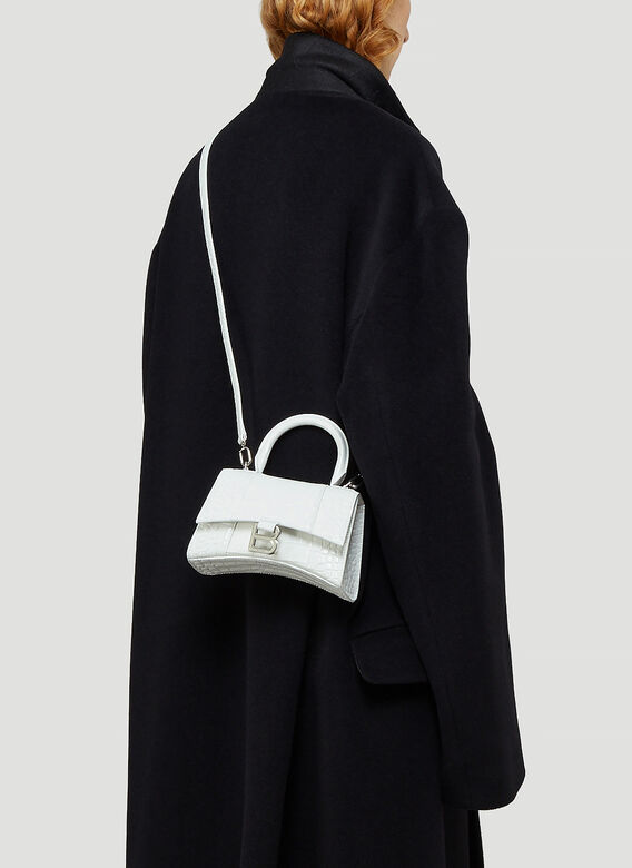 BALENCIAGA Leathers Hourglass Top Handle Extra Small Bag in White