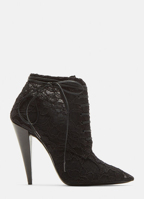 Saint Laurent Pointed Toe Louise Lace-up Ankle Boots