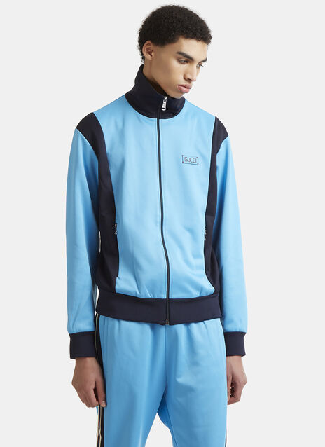 Gucci Striped Technical Zip-Up Jersey Sweater
