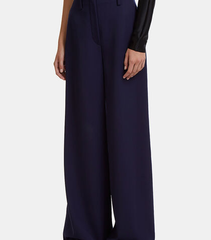 High-Waisted Wide Leg Twill Pants