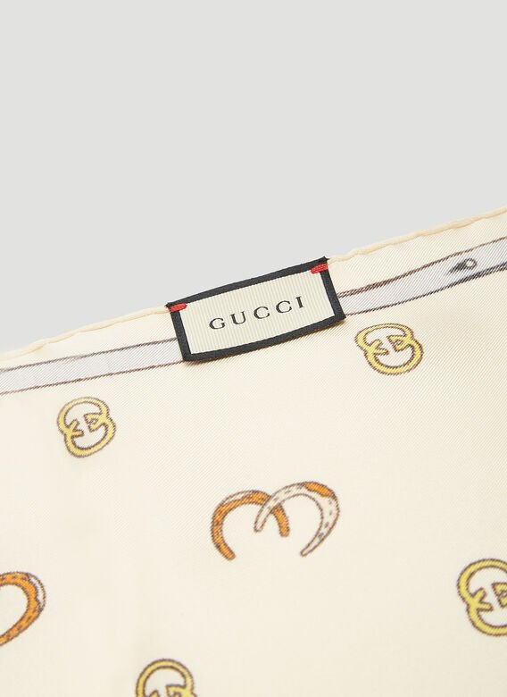 Gucci Horse Shoe GG Print Scarf