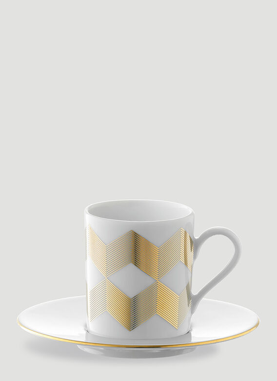 LSA International Set of Four Chevron Coffee Cup and Saucer 3