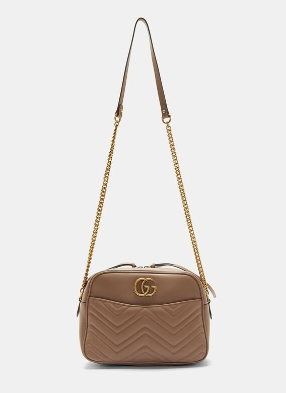 f63f3e9709a GG Marmont Matelassé Medium Shoulder Bag in Taupe