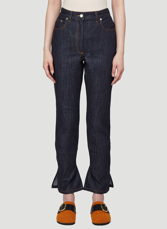 Jw Anderson Tie-Cuff Slim-Fit Jeans in Blue