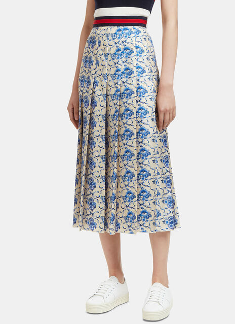 Floral Porcelain Print Pleated Skirt