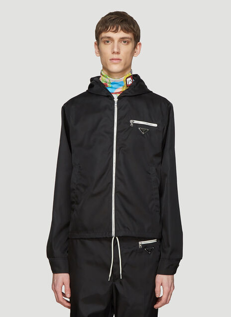 Prada Hooded Nylon Logo Zip Jacket